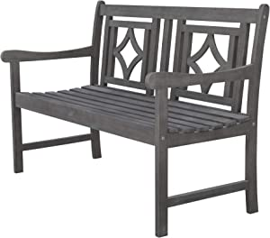 Vifah V1827 Grey-Washed 4Ft Diamond Vintage Acacia Wood Bench for 2 Seaters in Entry Way, Porch, Balcony, Deck, Garden, Patio, Backyard, Outdoor Seating 400 lbs Capacity, 48 Inches