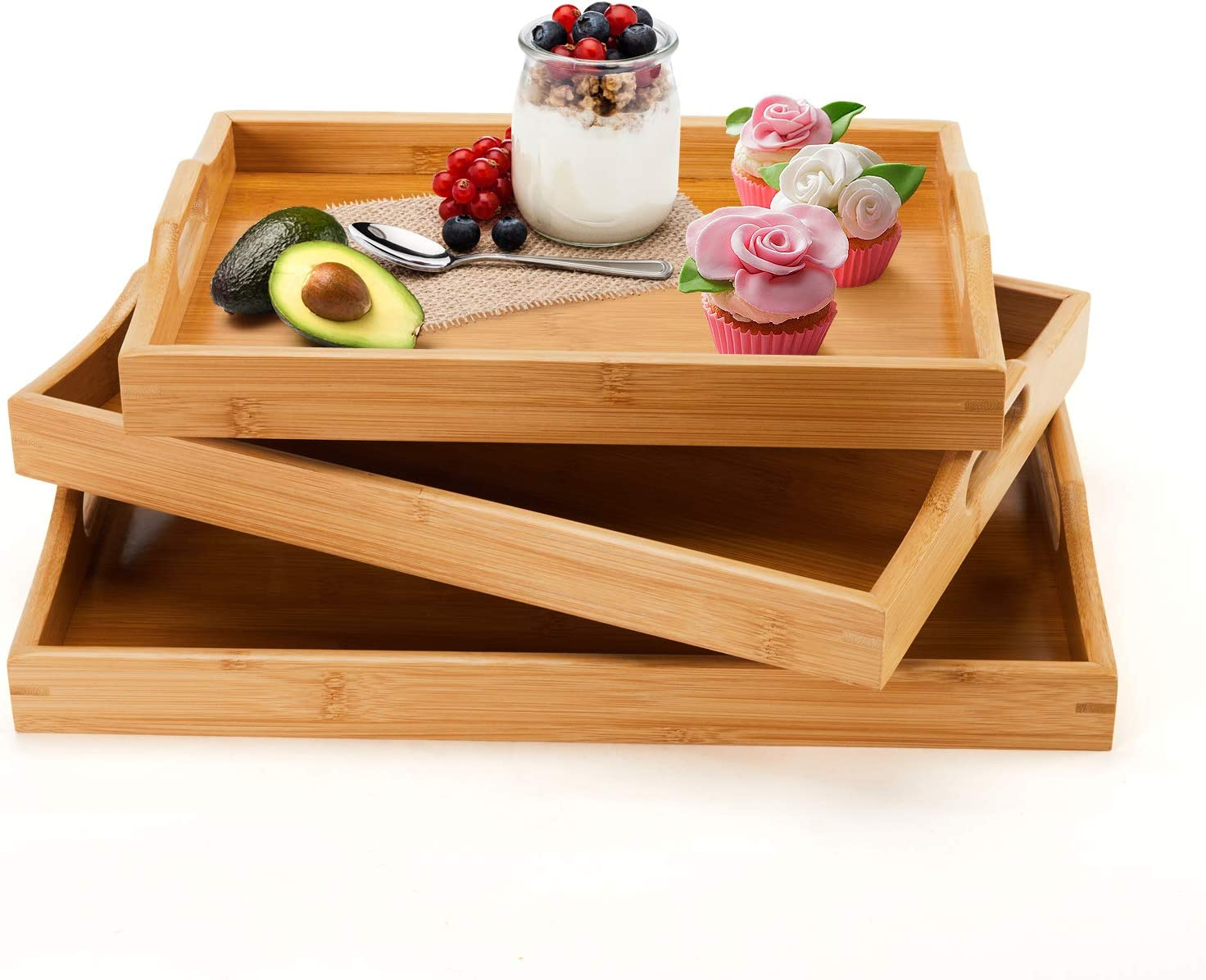 Bamboo Serving Tray with Handles, Large Food Trays for Eating Breakfast, Set of 3 Coffee Table Ottoman Décor Tray