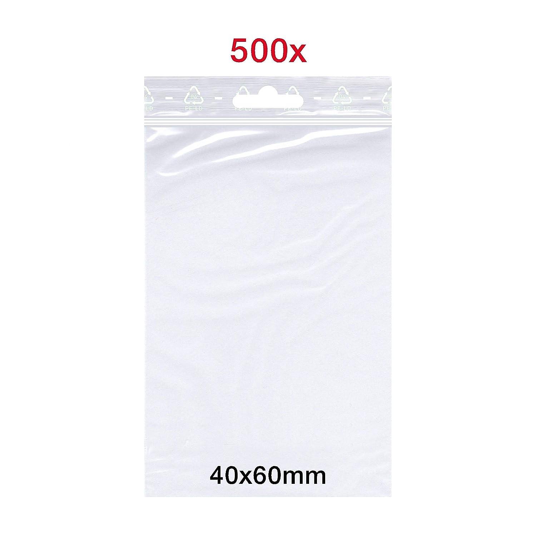 50 m/μ Forte Sacs cong/élation Transparent Lot de 500 sachets de fermeture /à pression 40 x 60 mm Sacs plats ZipLock avec euro-perforations Alimentaires LDPE
