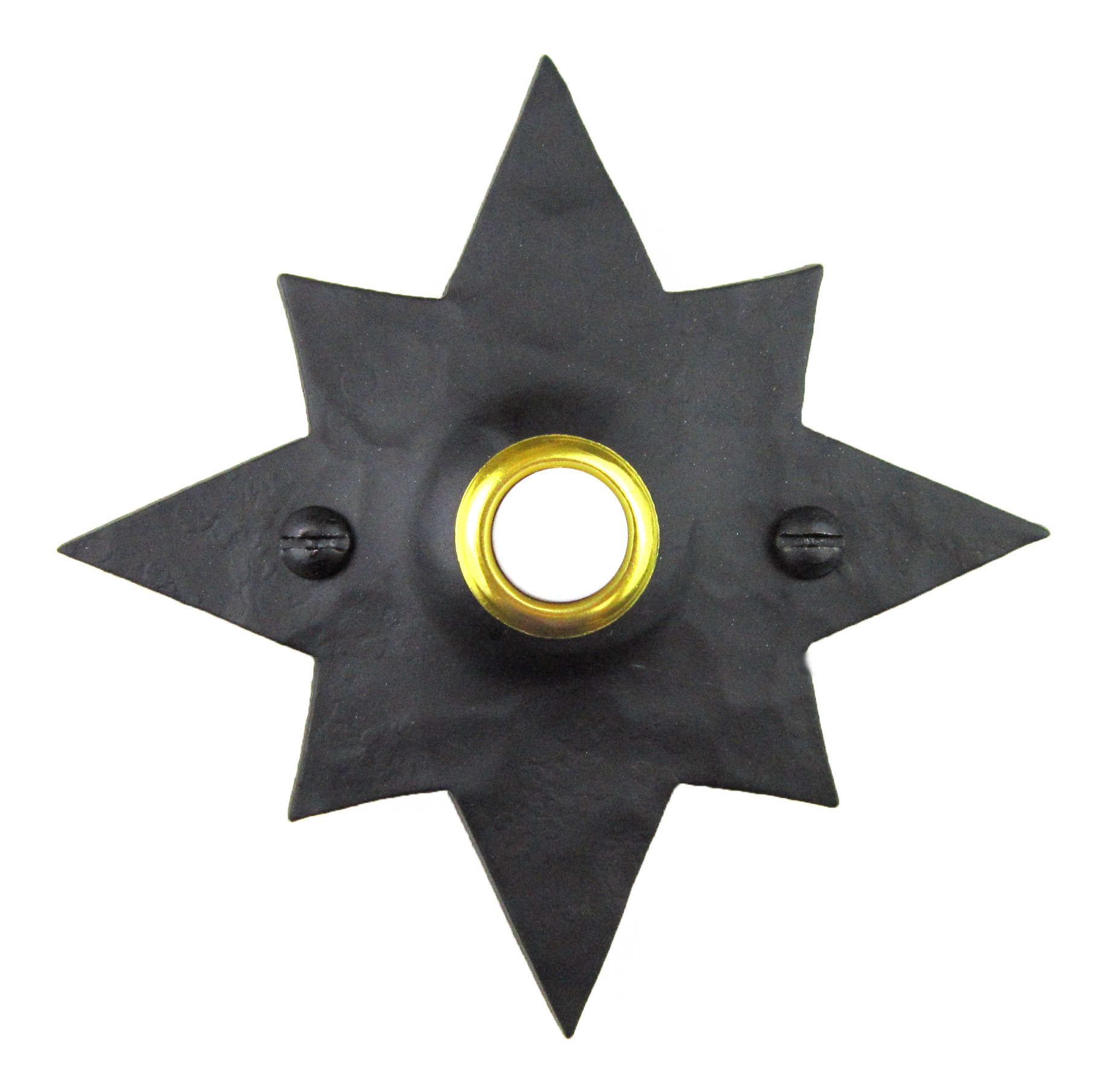 Rustic Hammered Star Wrought Iron Doorbell Cover D5 (Black)