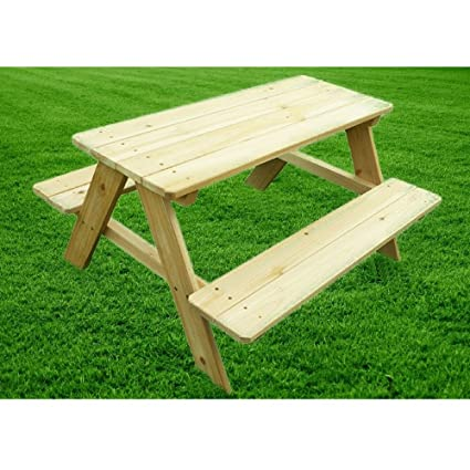 Wooden Bench Table Outdoor Indoor Picnic Table for Kids Playful Portable  Wooden Furniture Picnic Dinner Party