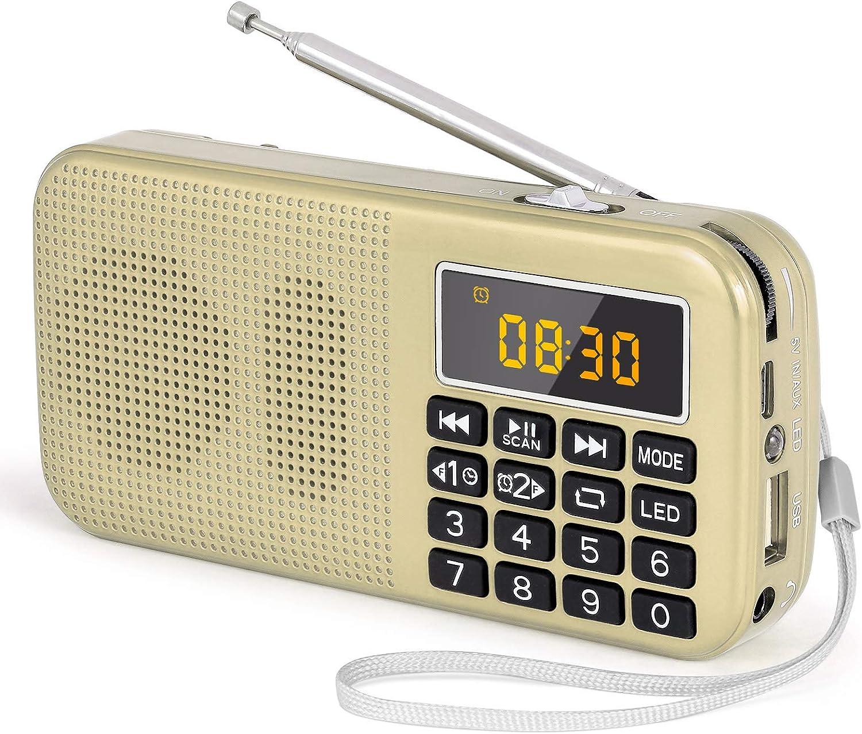 J-725C Radio FM portátil pequeña, Radio de batería Recargable Digital con Reloj Despertador, Linterna LED, Tiempo de reproducción ultralargo, Reproductor de MP3 AUX Micro-SD Pendrive, de PRUNUS(Oro): Amazon.es: Electrónica