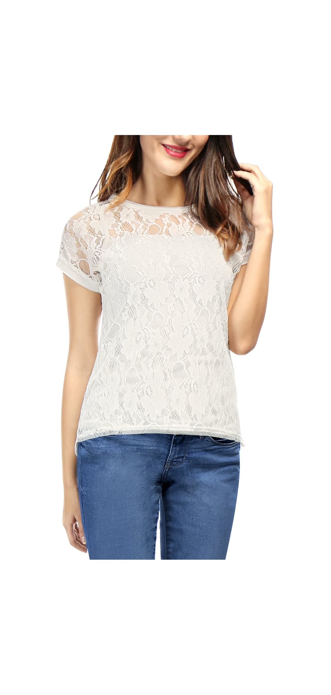 Women's Round Neck See Through Sheer Floral Lace Shirt