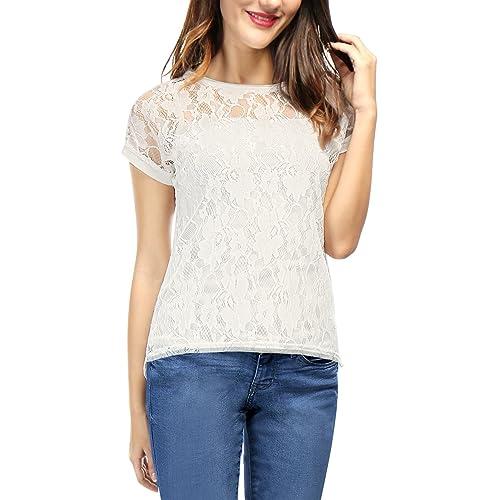 White Lace Tops M: Amazon.com