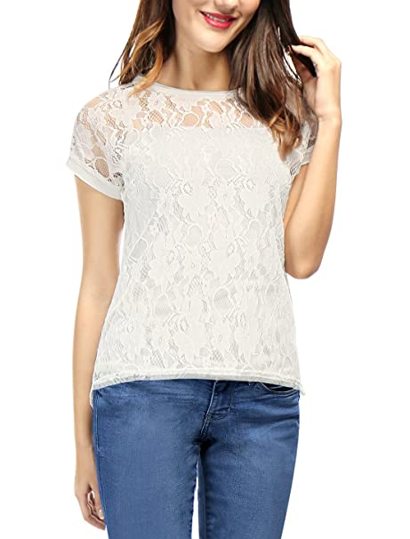 c58334f7a9cf Allegra K Women's Curved Hem Sheer Short Sleeves Floral Lace Top XS White