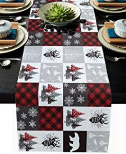 "Cotten Line Table Runner Christmas Checked Plaid Elk Tablecloth for Christmas Party Holiday Kitchen Dining Living Room Decor, Christmas Tree Bear Non Slip Runners, 13"" x 70"""