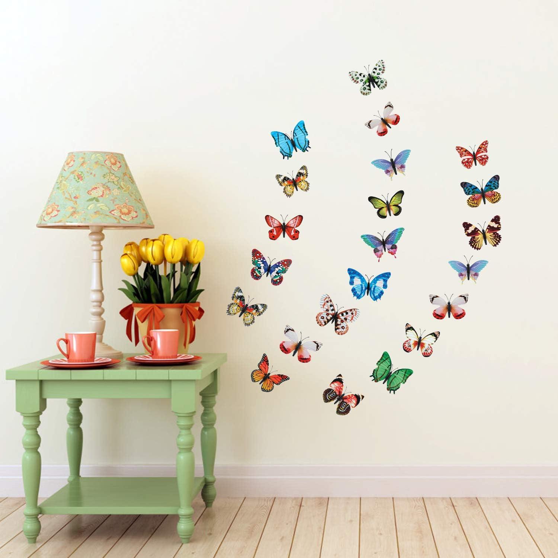 Pegatinas de pared de Mariposa para Room Home Nursery-Estilo de im/án Qkurt 24pcs 3D Mariposa Lumiosa