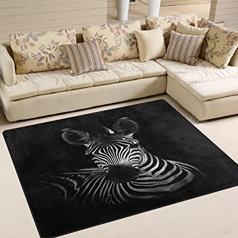 Amazon.com: ALAZA Cute Zebra Black Area Rug Rugs for Living ...