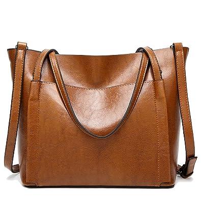 3de2c23faaeeb MYTNN Damentasche 2rt Set Shopper Tragetasche Schultertasche Damen Tasche  Umhängetasche verschiedene Farben (Hellbraun)  Amazon.de  Schuhe    Handtaschen