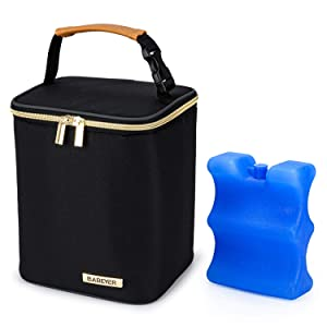 BABEYER Breast Milk Cooler Bag with Ice Pack Fits 4 Baby Bottles Up to 9 Ounce, Baby Bottle Cooler Bag Suitable for Nursing Mom Daycare, Black