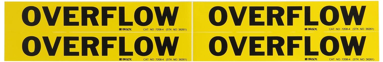 Brady 7208-4 Self-Sticking Vinyl Pipe Marker B-946 1 1//8 Height X 7 Width Black On Yellow Pressure Sensitive Vinyl Legend Overflow 1 1//8 Height X 7 Width Legend Overflow