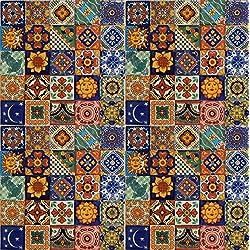 100Pintado a mano mexicano de Talavera Azulejos 5,1x 5,1cm Decoración Mediterráneo Español