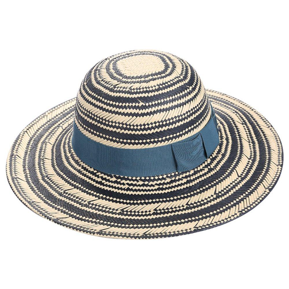 JJZHY Chapeau Automne Loisirs Chapeau de Paille Classique Tendance Chapeau Chapeau Chapeau de Soleil,Bleu,Taille Unique