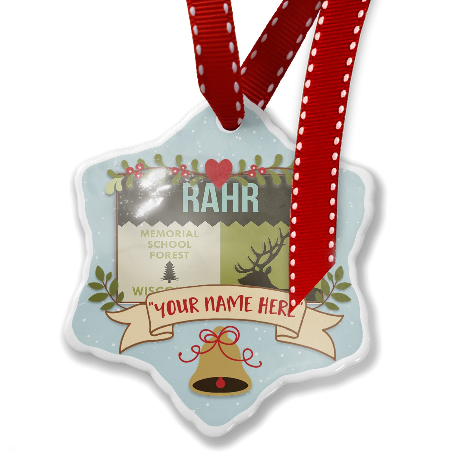 Add Your Own Custom Name, National US Forest Rahr Memorial School Forest Christmas Ornament NEONBLOND