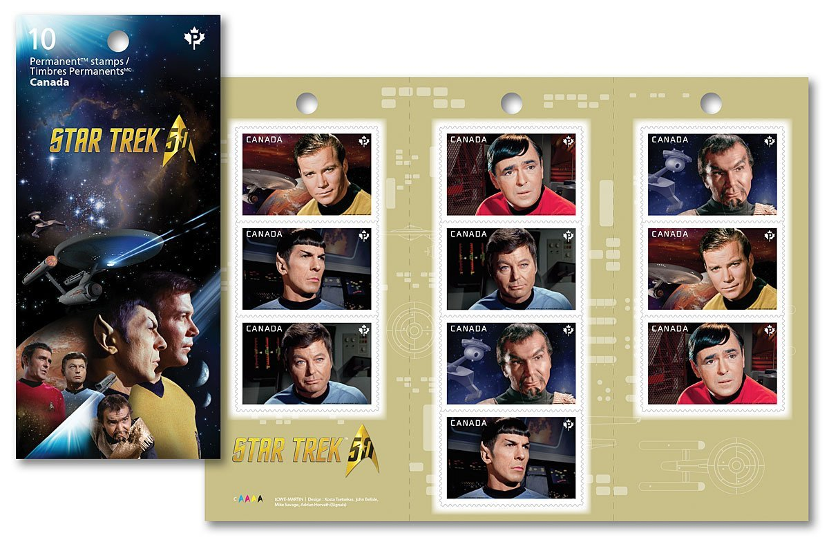 """Star Trek 50th Anniversary - Captain Kirk, Spock, Scotty, Doctor Leonard """"Bones"""" McCoy and Kor - Booklet of 10 Collectible Postage Stamps Canada"""