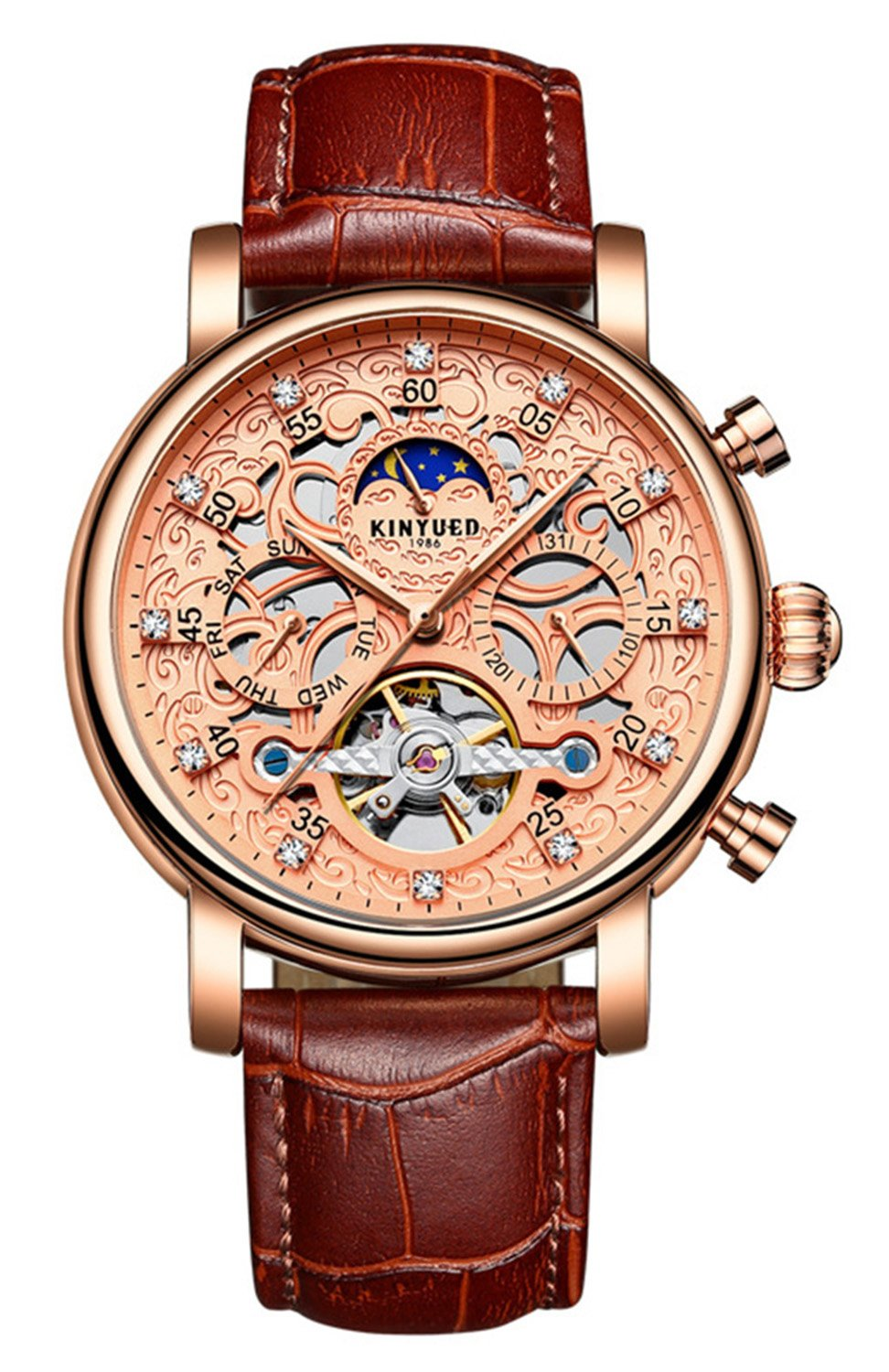 Luxury Automatic Mechanical Tourbillonスケルトン日付ムーンフェーズ本革防水Men Watches Brown Rose gold B076KNTQ63 Brown Rose gold Brown Rose gold