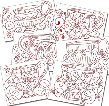 Amazon Com Kitchen Teacups Redwork Machine Embroidery Designs On Cd