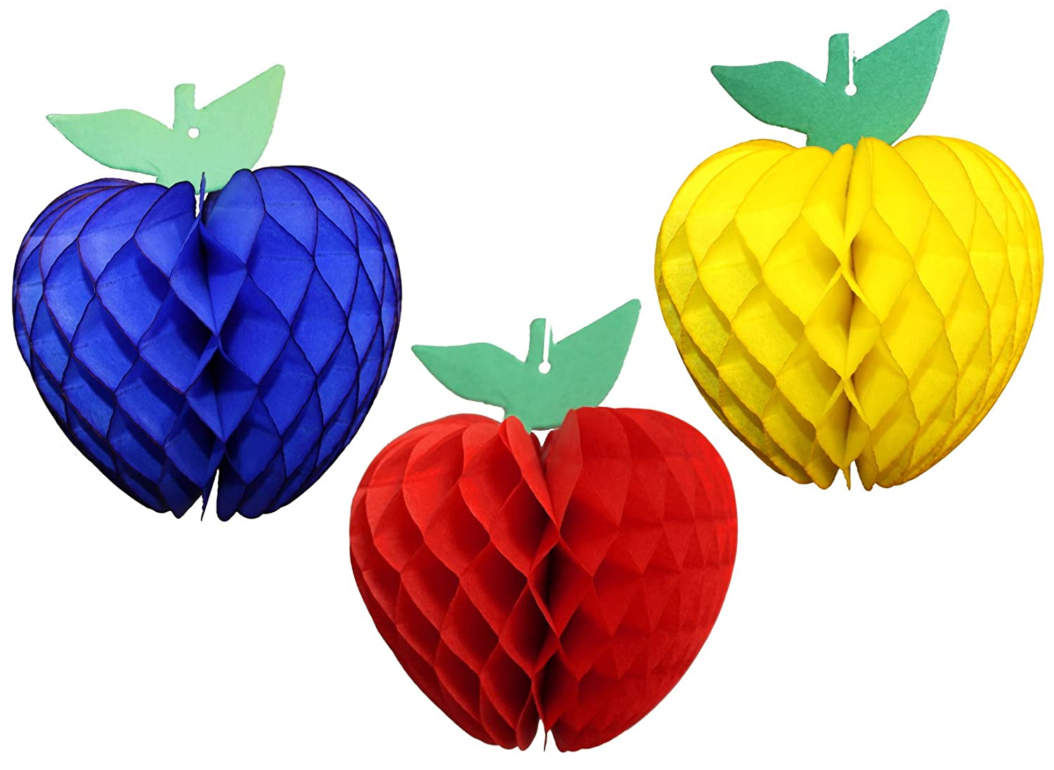 7 Inch Honeycomb Tissue Paper Apple Decoration Set of 3 Red, Dark Blue, Yellow