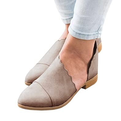 f06044bb8905f Hestenve Women's Faux Leather Cutout Loafer Shoes Low Heel Pointy Toe Close  Flats