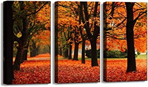 "Autumn Forest Tree Canvas Wall Art Decor Golden Brown Maple Forest Landscape Picture Prints Nature Woods Painting Artwork Size 3PK 18""x24"" x1.25"""