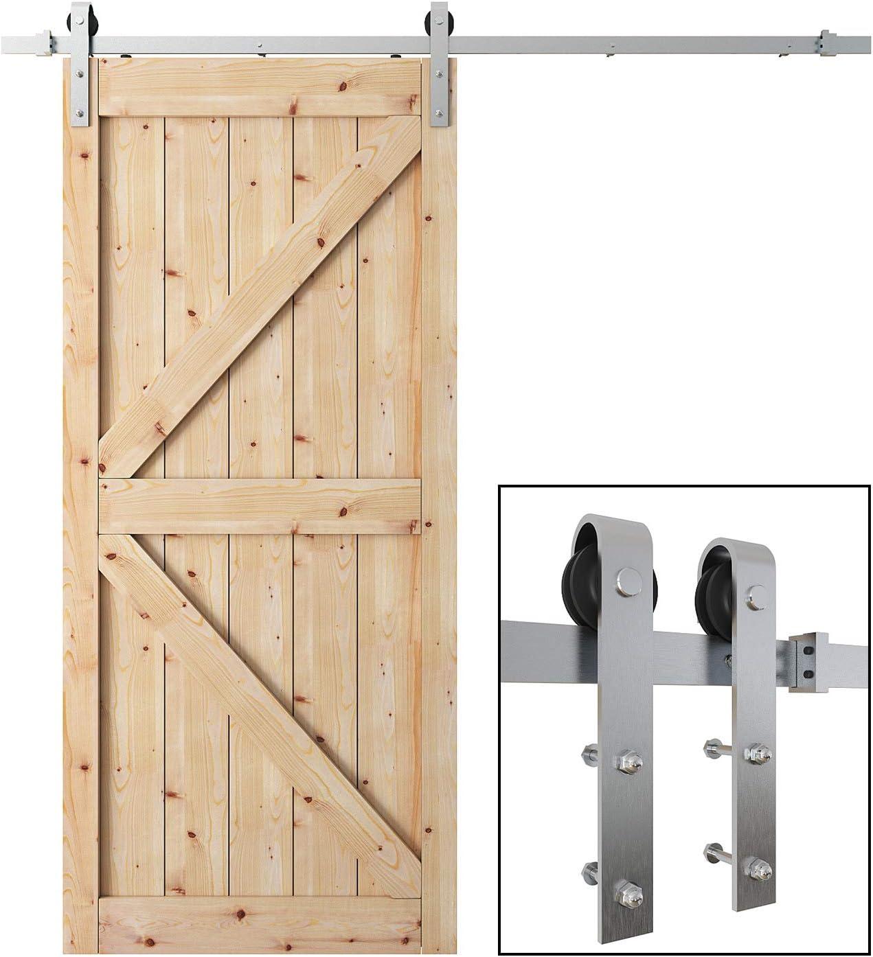 Stainless Steel Antique Sliding Barn Door Hardware Set Kit Wood Doors 6.6