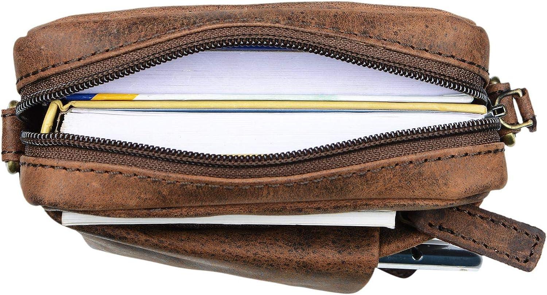 STILORD Fiete 2-en-1 Bolso Bandolera Piel//Bolso Mano Hombre Piel Vintage Bolso Mensajero peque/ño Bolso Mano con asa de Cuero aut/éntico