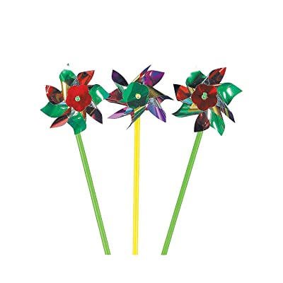 Fun Express - Metallic Pinwheels (6dz) - Toys - Value Toys - Pinwheels - 72 Pieces: Toys & Games
