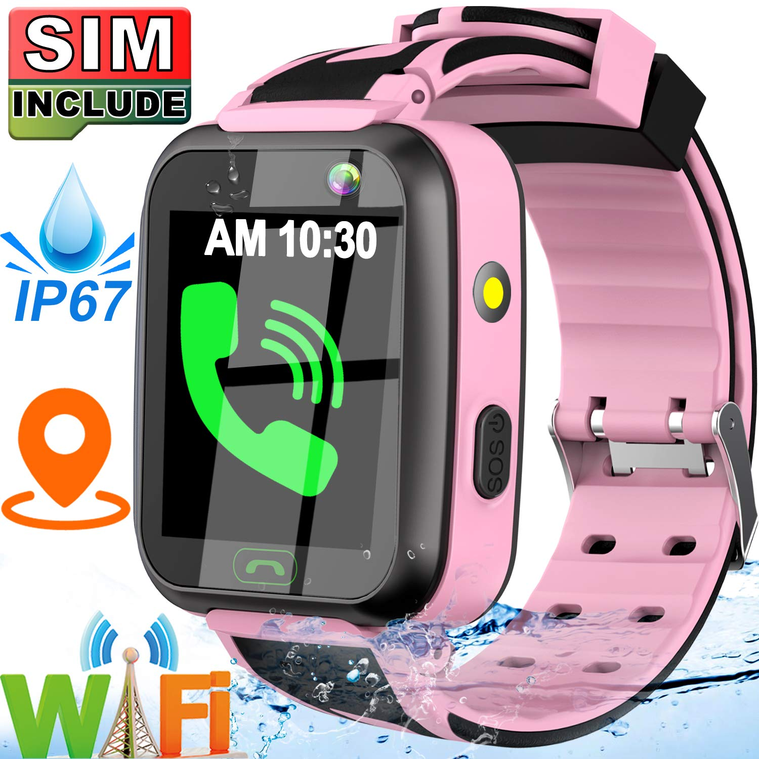 [SIM Card Include] Kids Smart Watch- Real GPS Tracker Waterproof WiFi Smart Watch Phone for Boys Girls with Fitness Tracker Pedometer Camera Alarm Clock for Kids Birthday Gifts (Pink)