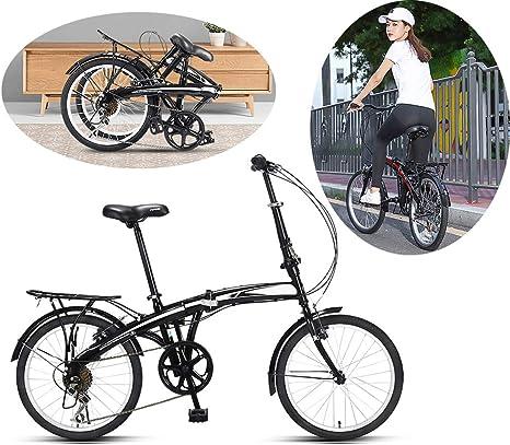 MYGIRLE 20 Pulgadas Bicicleta Plegable Señoras con La Cesta Desplegable Bicicletas para Adultos De Peso Ligero con La Cesta Y Comodidad De Una Silla,Negro: Amazon.es: Deportes y aire libre
