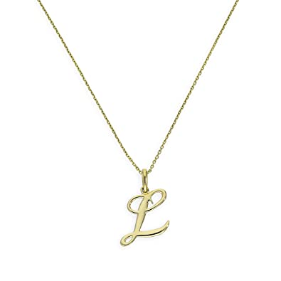 9ct Gold Fancy Calligraphy Script Letter L Pendant On 18 Inches Chain