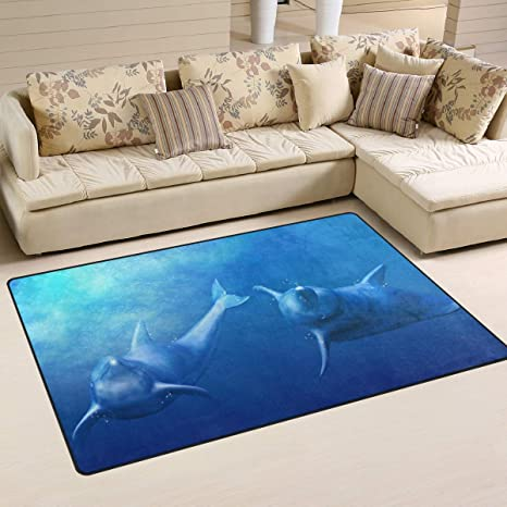 Amazon.com: Naanle Funny Dolphin Non Slip Area Rug for ...