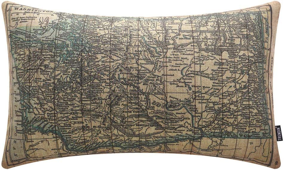 TRENDIN Vintage Historic Washington State Map Lumbar Pillow Cover 12x20 Inch Graduation Gift Sofa Couch Pillowcase Cotton Linen PL489TR
