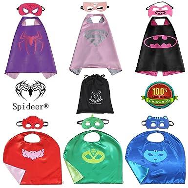 SpiderMarket PJ máscaras & Supergirl CABO y máscara Set de 6 Cosplay disfraz de Kids party
