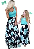 Qin.Orianna Mommy and Me Boho Floral Family Matching Maxi Dress with Pocket for Mother's Day