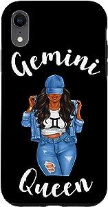 iPhone XR Streetwise Gemini Queen Black Womens Zodiac Birthday Case