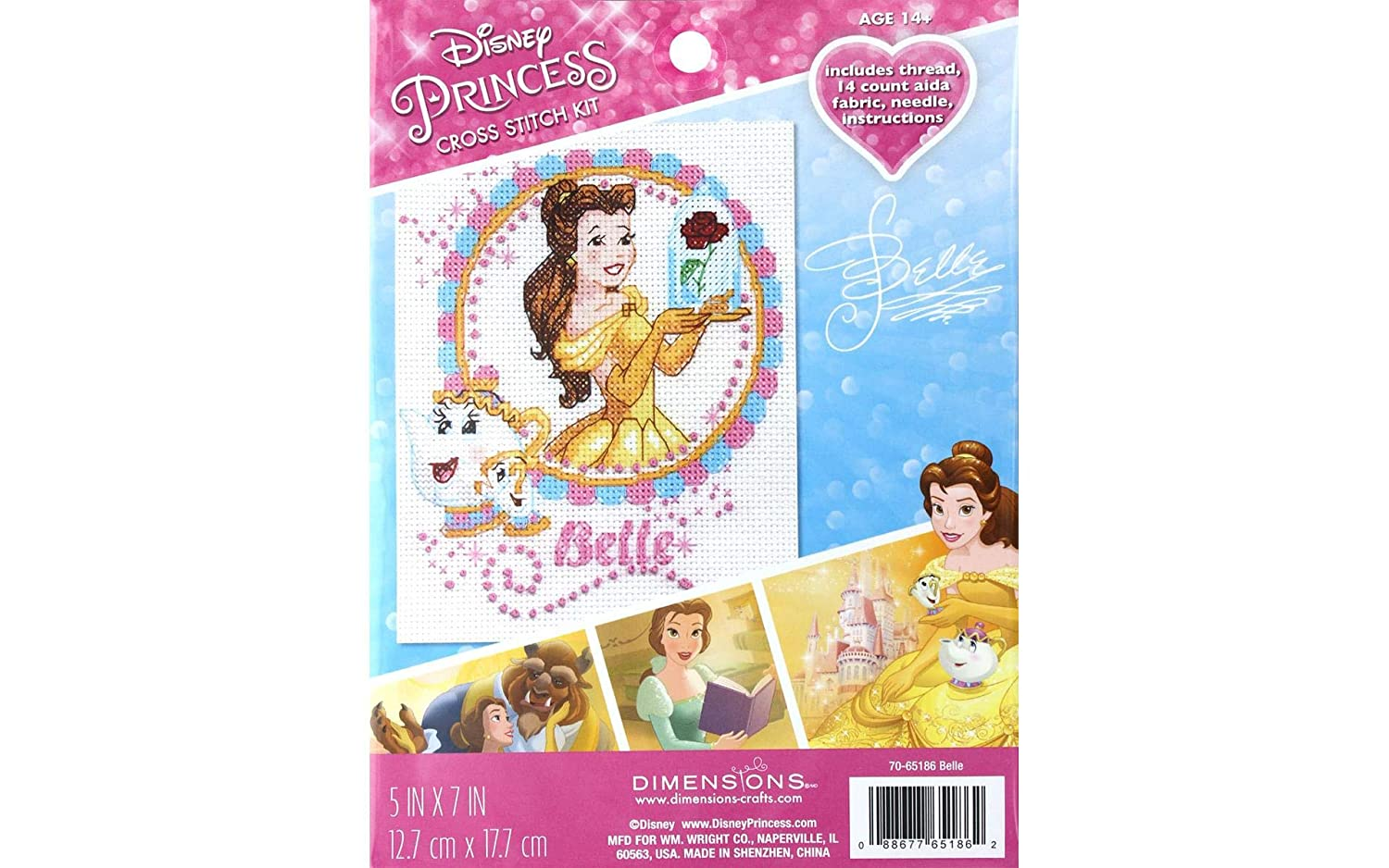 5 x 7 14 Count White Aida Dimensions Disney Beauty and the Beast Counted Cross Stitch Kit for beginners