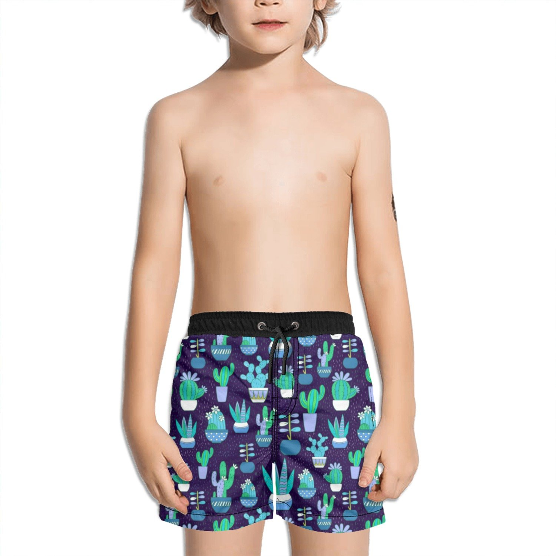Trum Namii Boys Quick Dry Swim Trunks Blue Succulents and Cactus Shorts