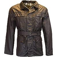 Walker & Hawkes - Mens Belted Waxed 4 Pocket Motorcycle Waterproof Jacket - Black