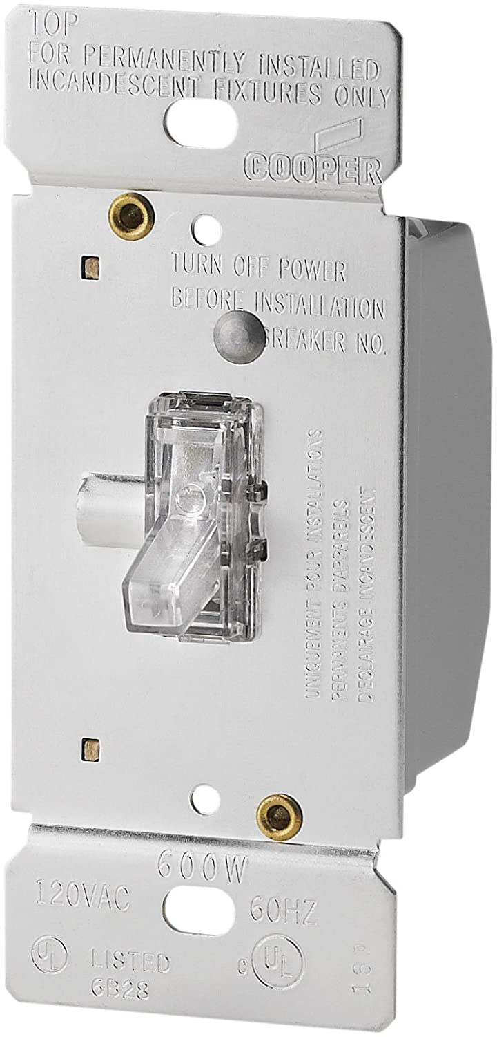 EATON Wiring TI306L-K 600-Watt 120-Volt Single-Pole/3-way Lighted Incandescent/Halogen Toggle Dimmer with Non-Preset