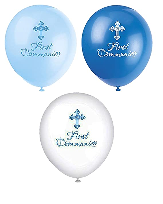 Neon Candy 8 globos de látex para rellenar el aire, para niños, para primera comunión, decoración de fiesta, color azul y blanco: Amazon.es: Hogar