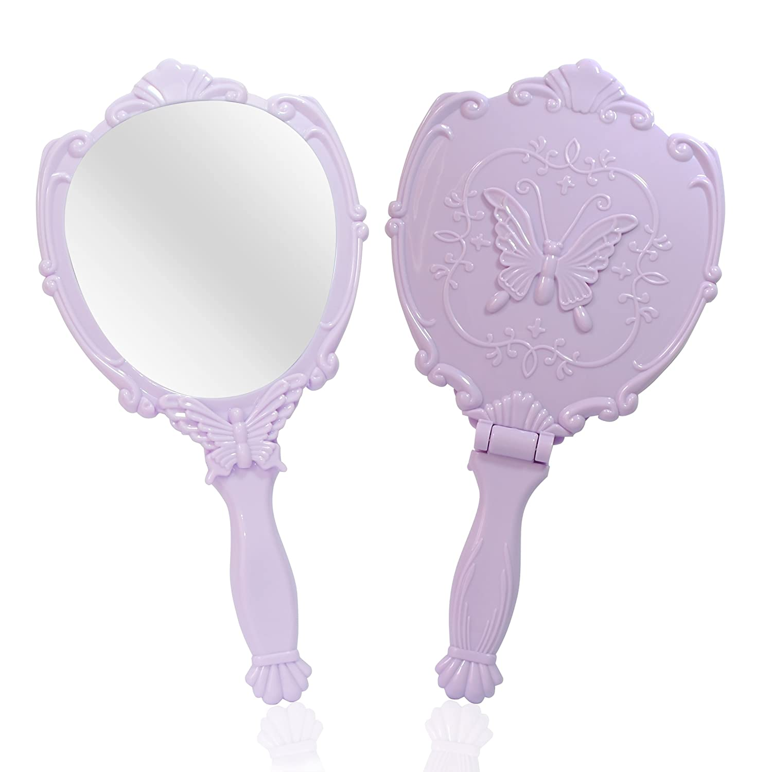 Embossed Butterfly Handheld Mirror with Folding Handle, Princess Style