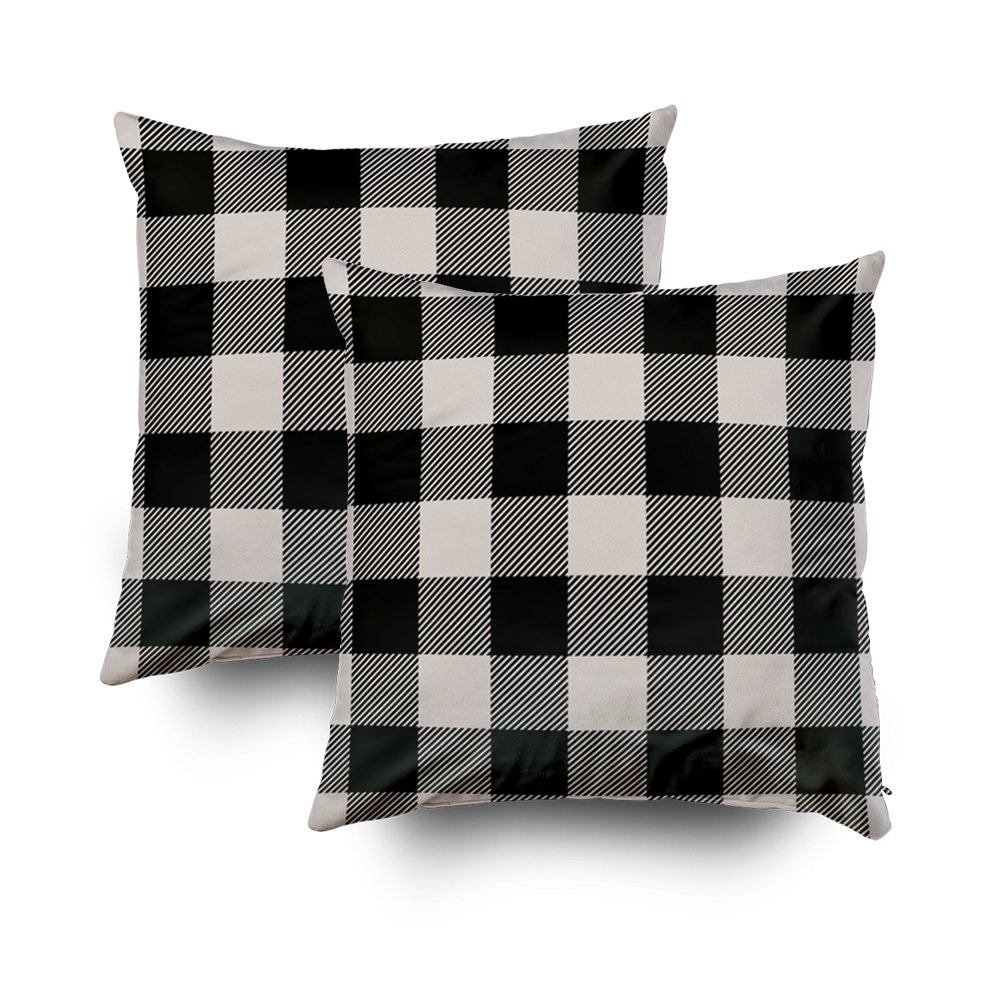 TOMWISH 2 PACKS Hidden Zippered Pillowcase black and beige preppy buffalo check plaid 16X16Inch,Decorative Throw Custom Cotton Pillow Case Cushion Cover for Home