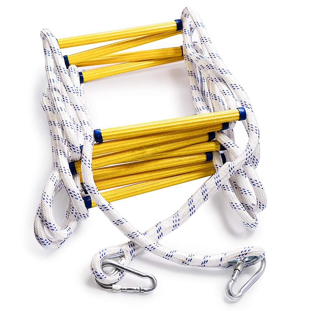 Aoneky Fire Escape Rope Ladder - Flame Resistant Emergency Fire Safety Evacuation Ladder with Hook Carabins for Kids and Adults, 2-3 Story Fire Rescue Ladder (16 Ft)