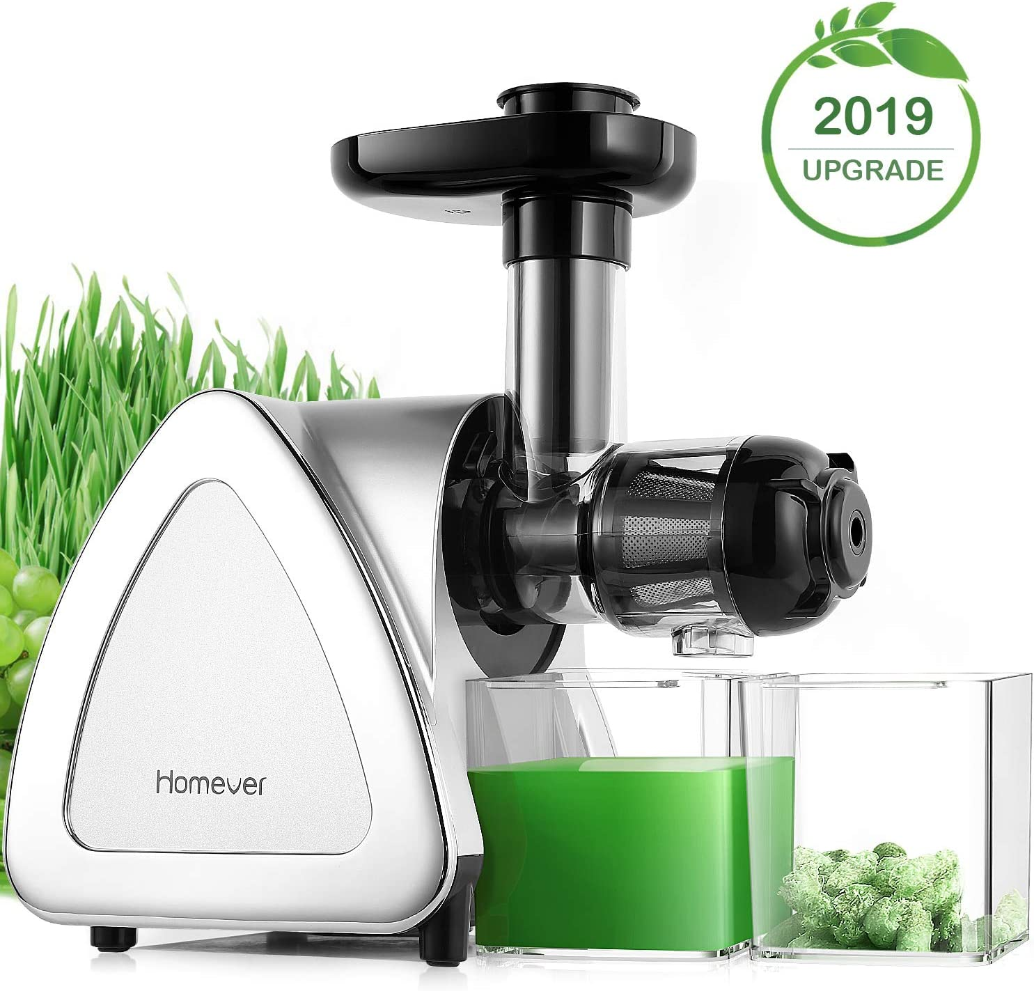 Juicer Machines, Homever Slow Masticating Juicer Extractor Easy to Clean, Cold Press Juicer for All Fruit and Vegetable,BPA-Free, Quiet Motor and Reverse Function with Juice Jug Brush, Silver