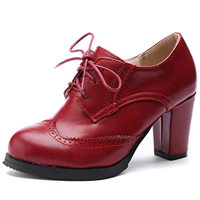 770183ee6598d Odema Women Brogue Pumps Wingtip Lace-Up High Heel Oxfords Shoes Ankle Boots  Red