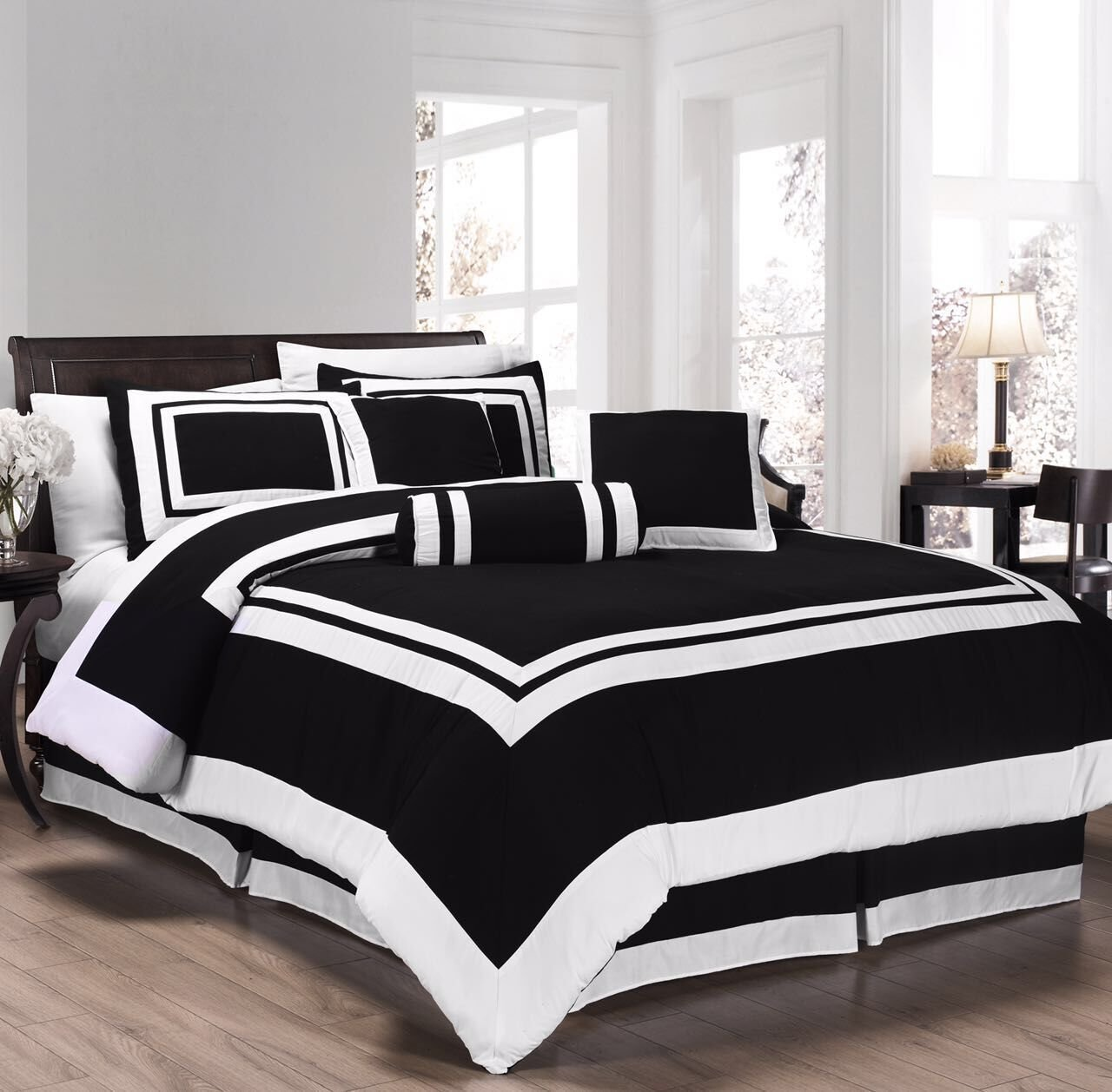 Chezmoi Collection 7 Pieces Caprice Black/White Square Pattern Hotel Bedding Comforter Set Queen, Black/White