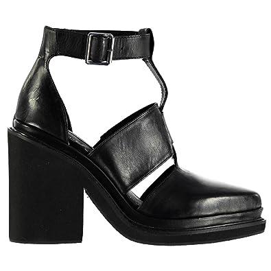 Windsor Smith Damen Weapon Leder Schuhe Blockabsatz High Heel Knoechelriemen