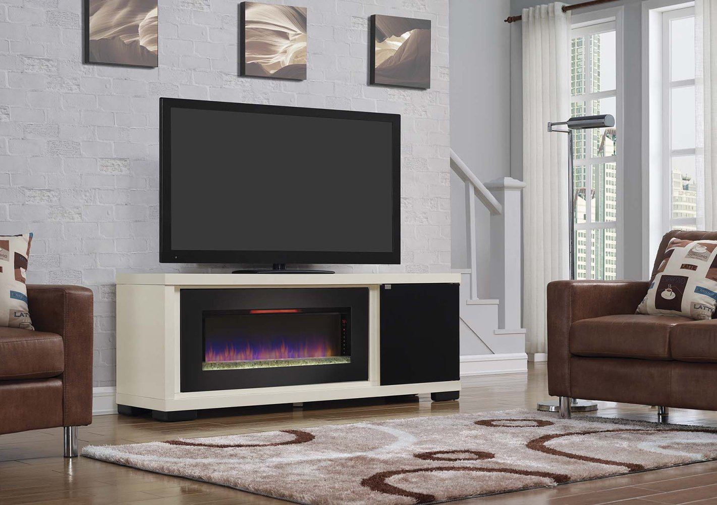 Amazon ClassicFlame 47IMM4931 T406 Brickell TV Stand For TVs Up To 80 Antique White Electric Fireplace Sold Separately Kitchen Dining