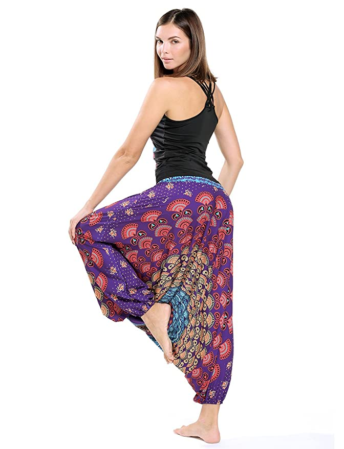 c5aff962479 CFR Women s Harem Pants Boho Aladin Loose Fit Yoga Bloomers Sport Dance  Baggy Trousers Jumpsuit Peacock Print  2  Amazon.ca  Clothing   Accessories