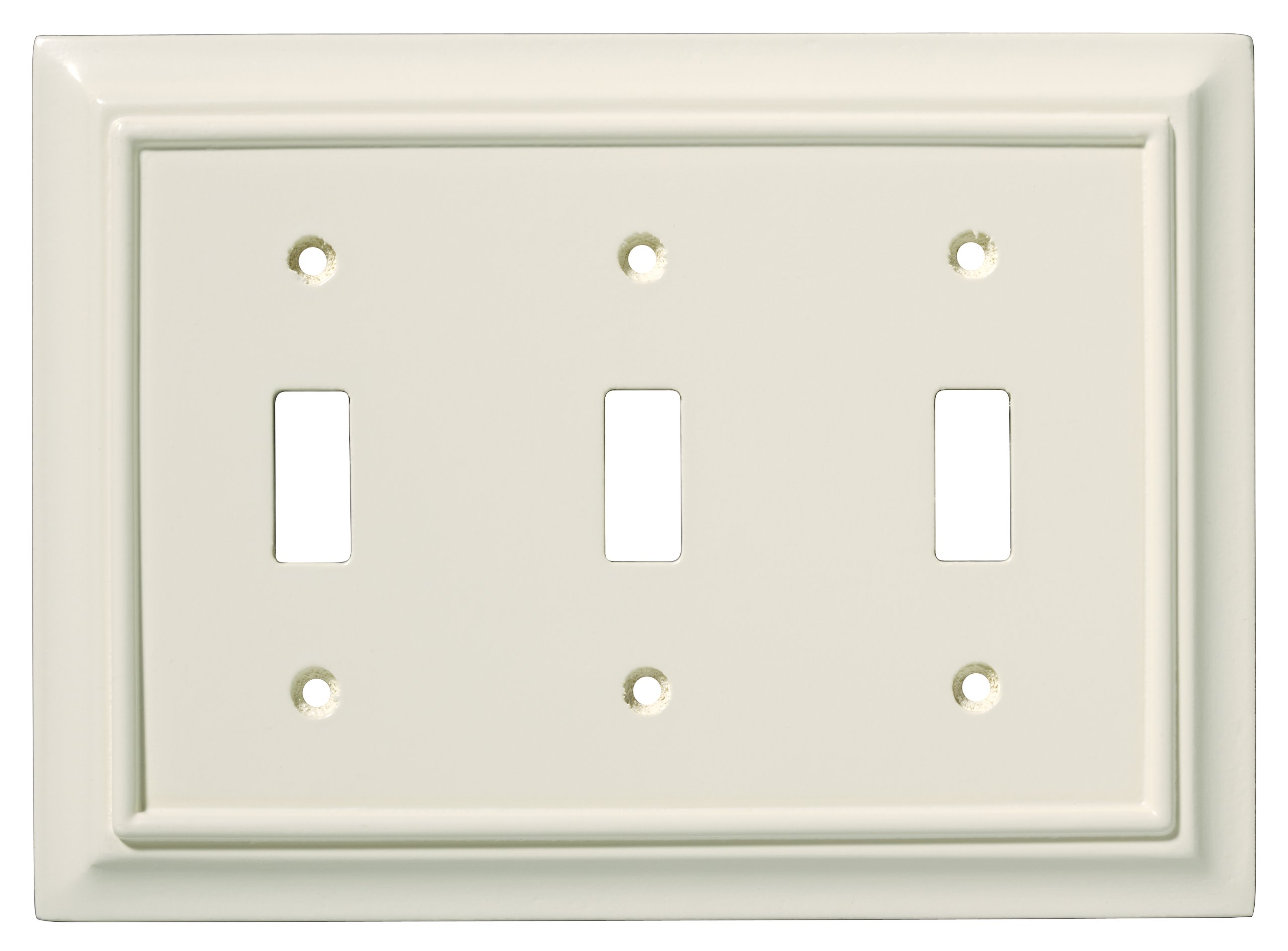 BRAINERD 126448 Wood Architectural Triple Toggle Switch Wall Plate / Switch Plate / Cover, Light Almond